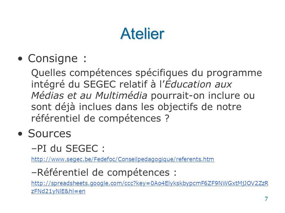 Atelier Consigne : Sources