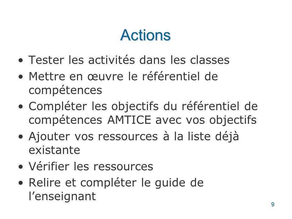 Actions Tester les activités dans les classes