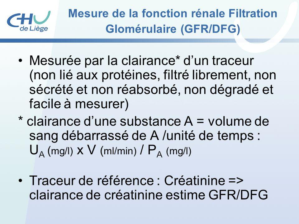 Mesure de la fonction rénale Filtration Glomérulaire (GFR/DFG)