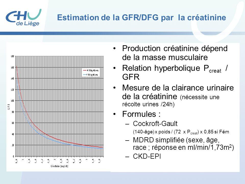 Estimation de la GFR/DFG par la créatinine