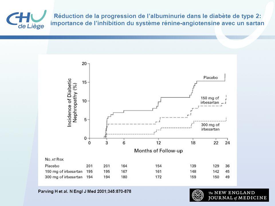 Réduction de la progression de l'albuminurie dans le diabète de type 2: importance de l'inhibition du système rénine-angiotensine avec un sartan