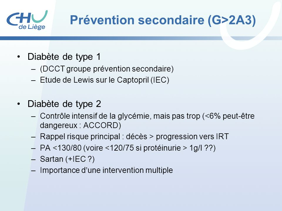 Prévention secondaire (G>2A3)