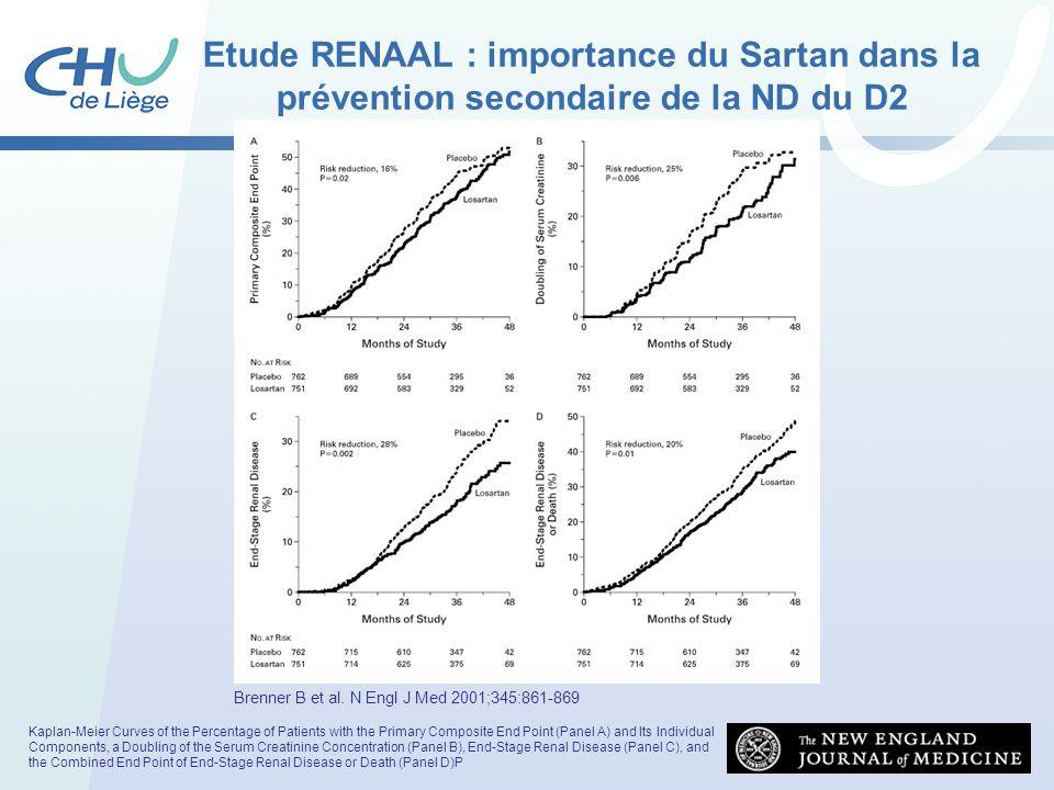 Etude RENAAL : importance du Sartan dans la prévention secondaire de la ND du D2