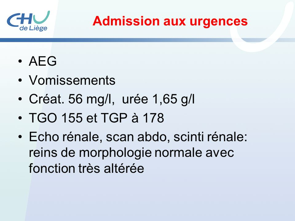 Admission aux urgences