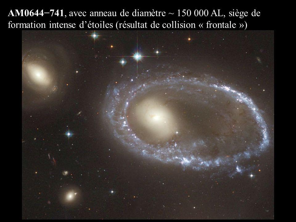 AM0644−741, avec anneau de diamètre ~ 150 000 AL, siège de formation intense d'étoiles (résultat de collision « frontale »)