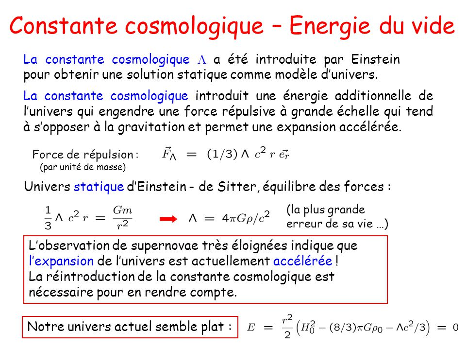 Constante cosmologique – Energie du vide