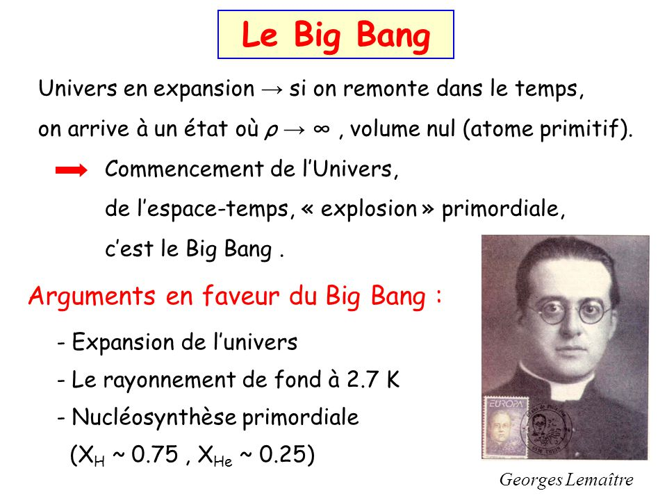 Le Big Bang Arguments en faveur du Big Bang :