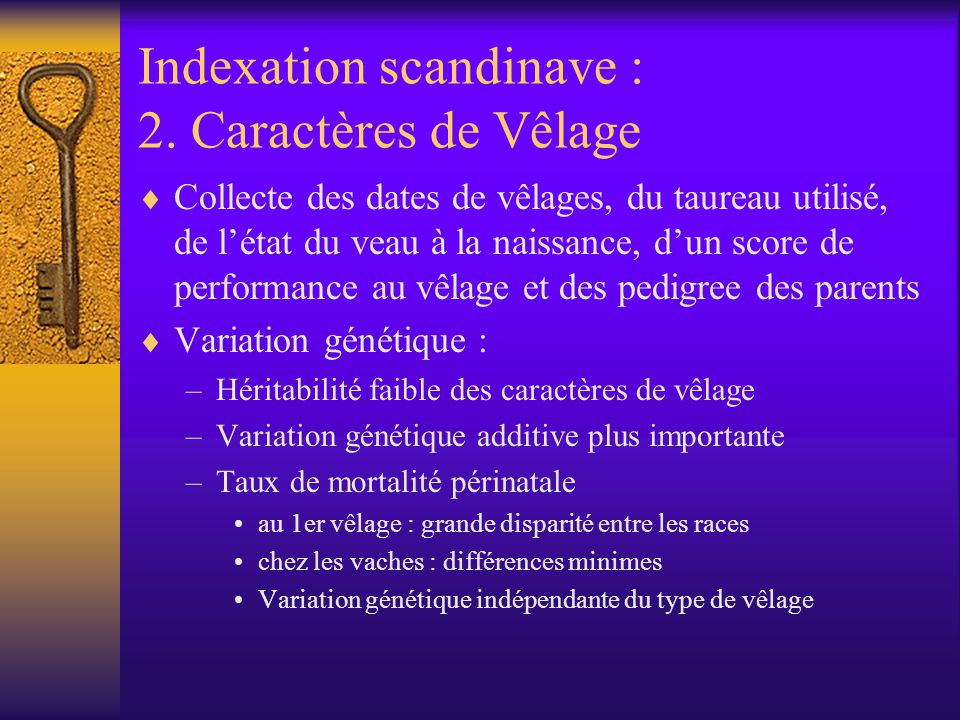 Indexation scandinave : 2. Caractères de Vêlage