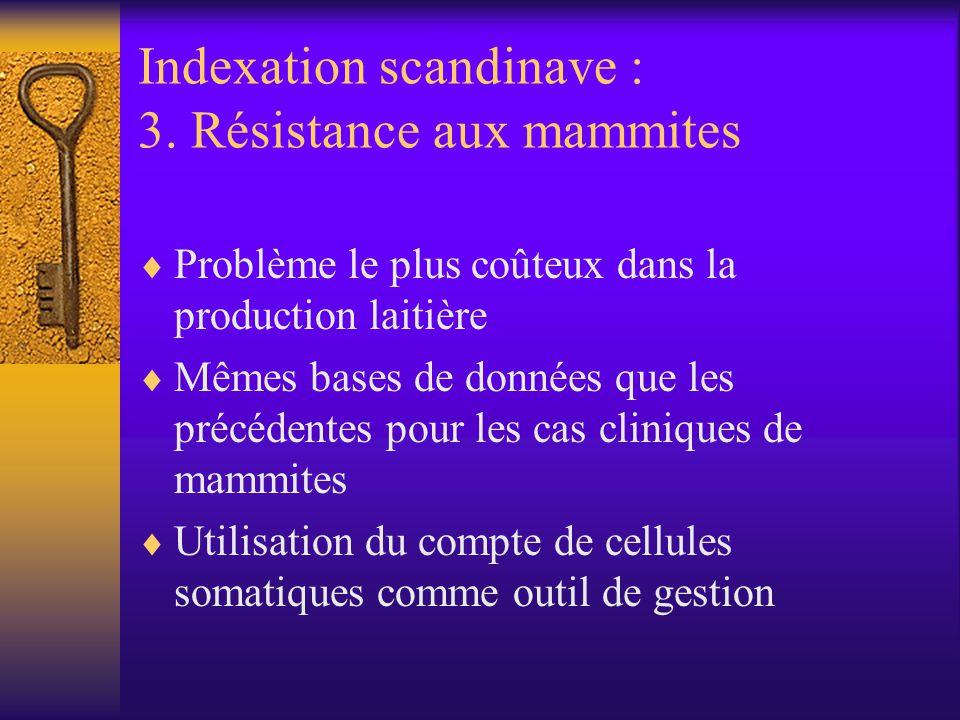 Indexation scandinave : 3. Résistance aux mammites