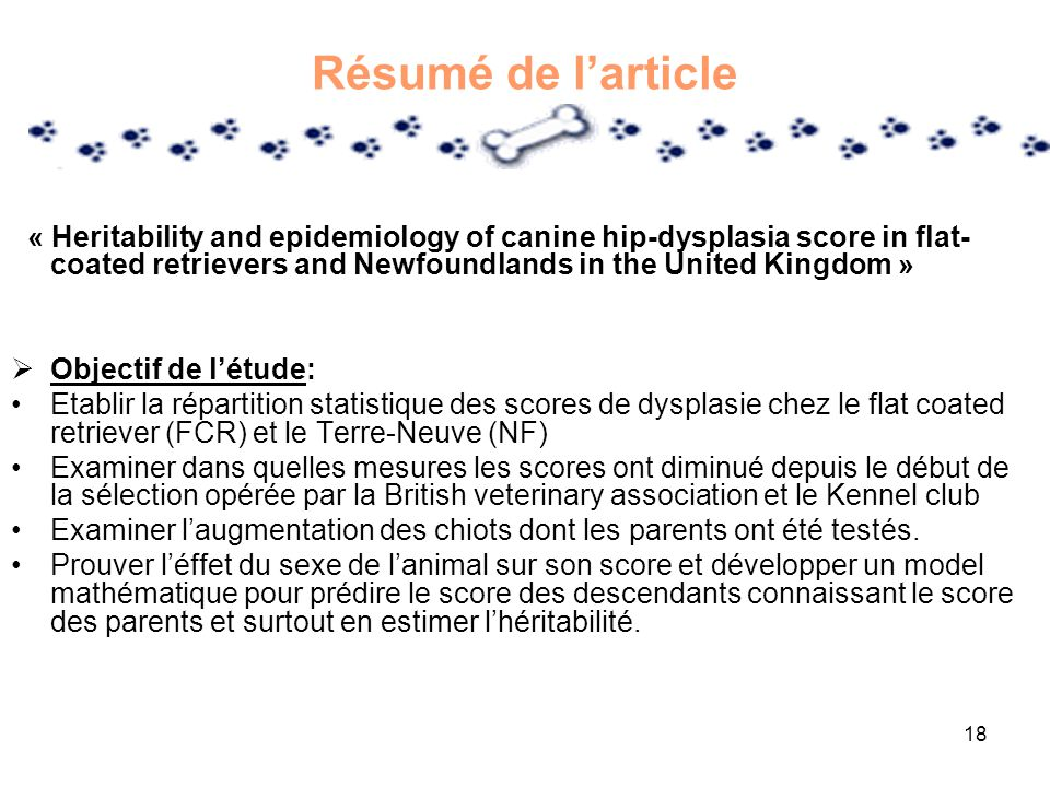 Résumé de l'article « Heritability and epidemiology of canine hip-dysplasia score in flat-coated retrievers and Newfoundlands in the United Kingdom »