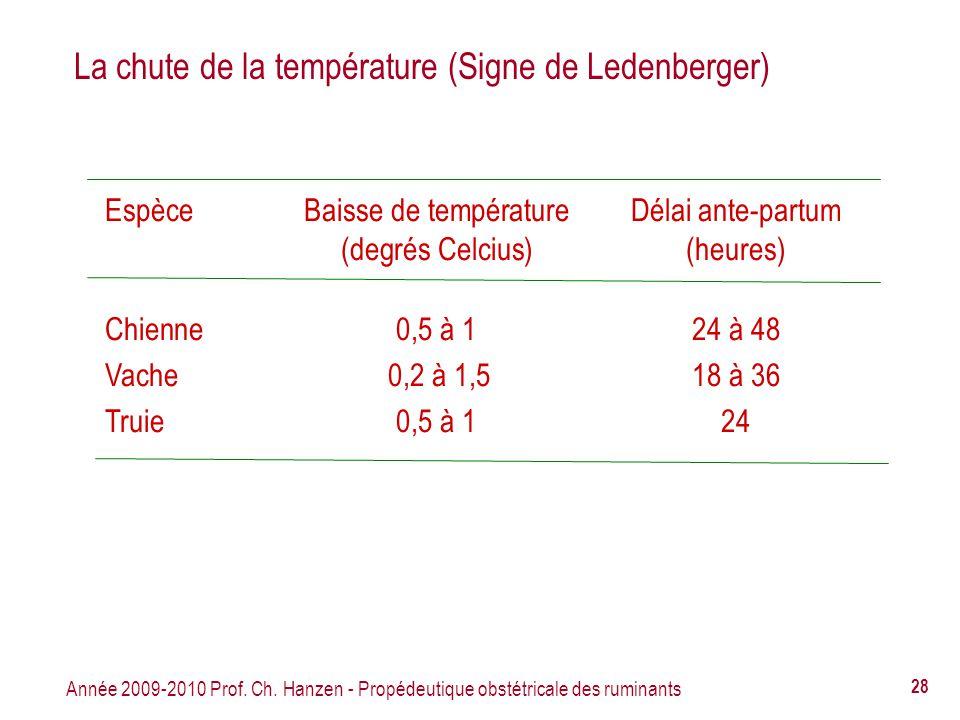 La chute de la température (Signe de Ledenberger)