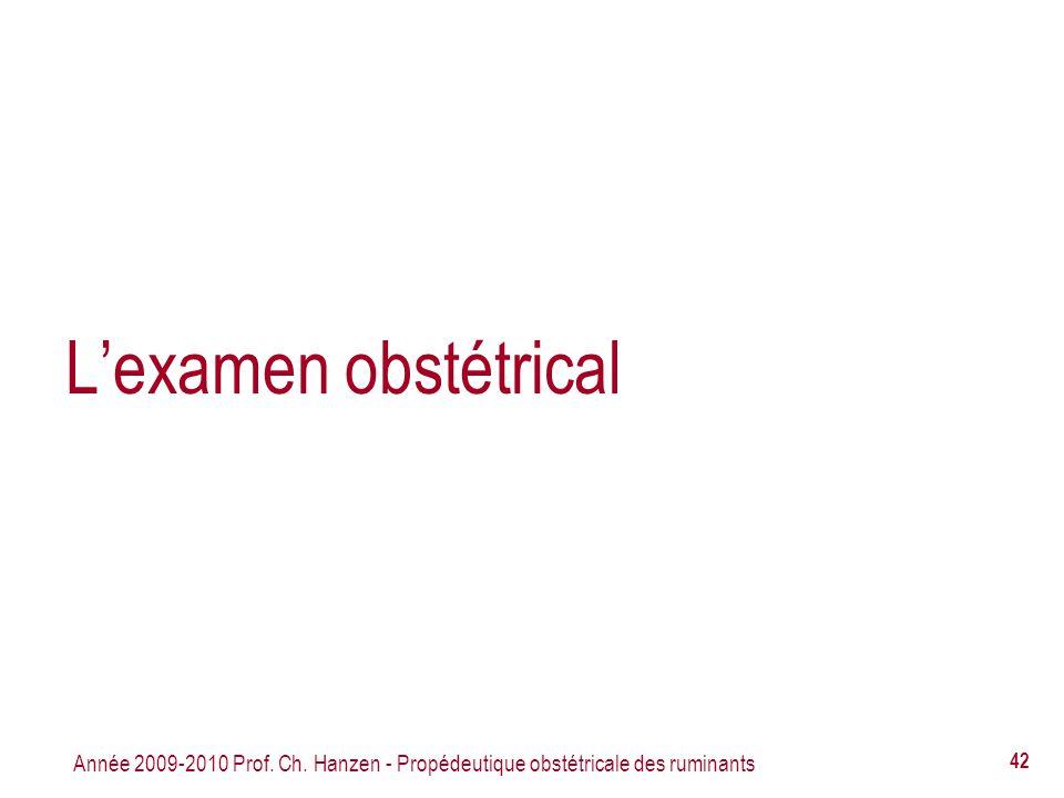 L'examen obstétrical Année 2009-2010 Prof. Ch. Hanzen - Propédeutique obstétricale des ruminants