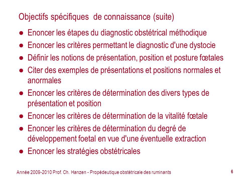 Objectifs spécifiques de connaissance (suite)