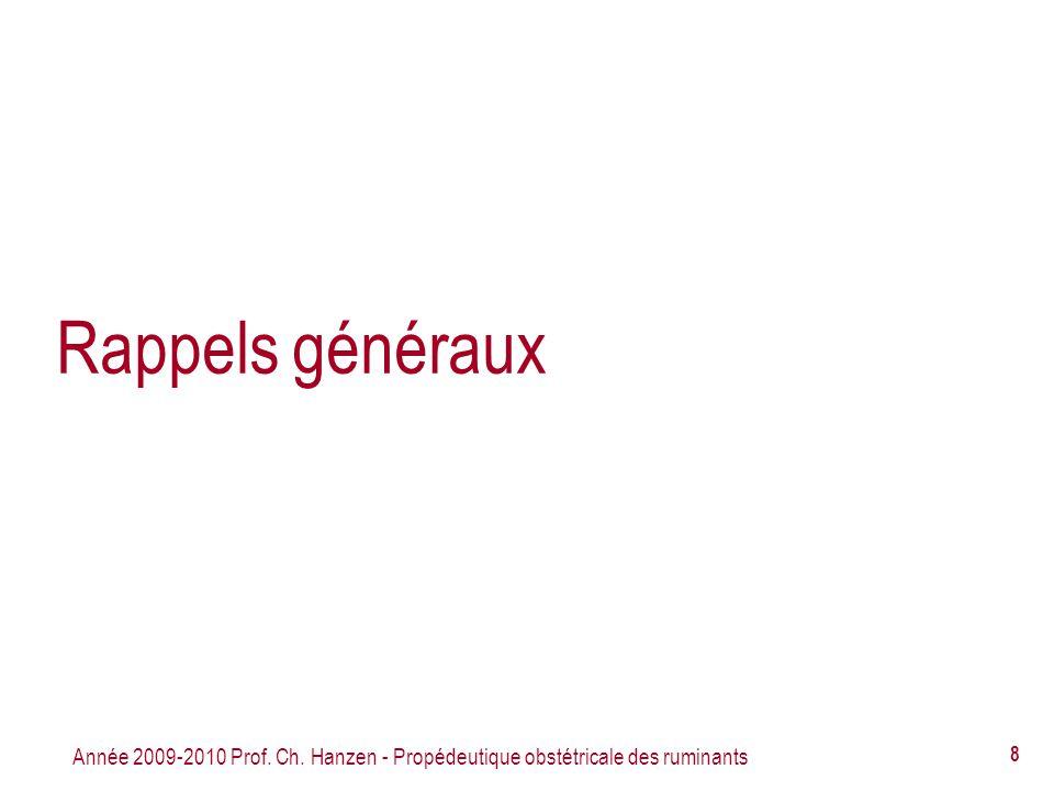 Rappels généraux Année 2009-2010 Prof. Ch. Hanzen - Propédeutique obstétricale des ruminants