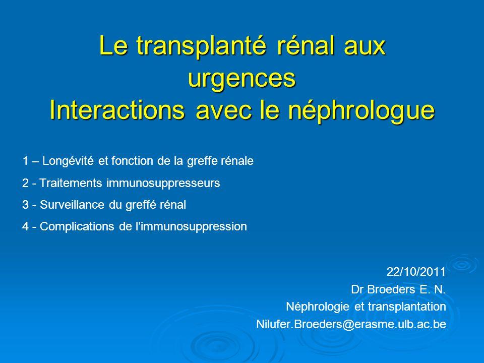 Le transplanté rénal aux urgences Interactions avec le néphrologue
