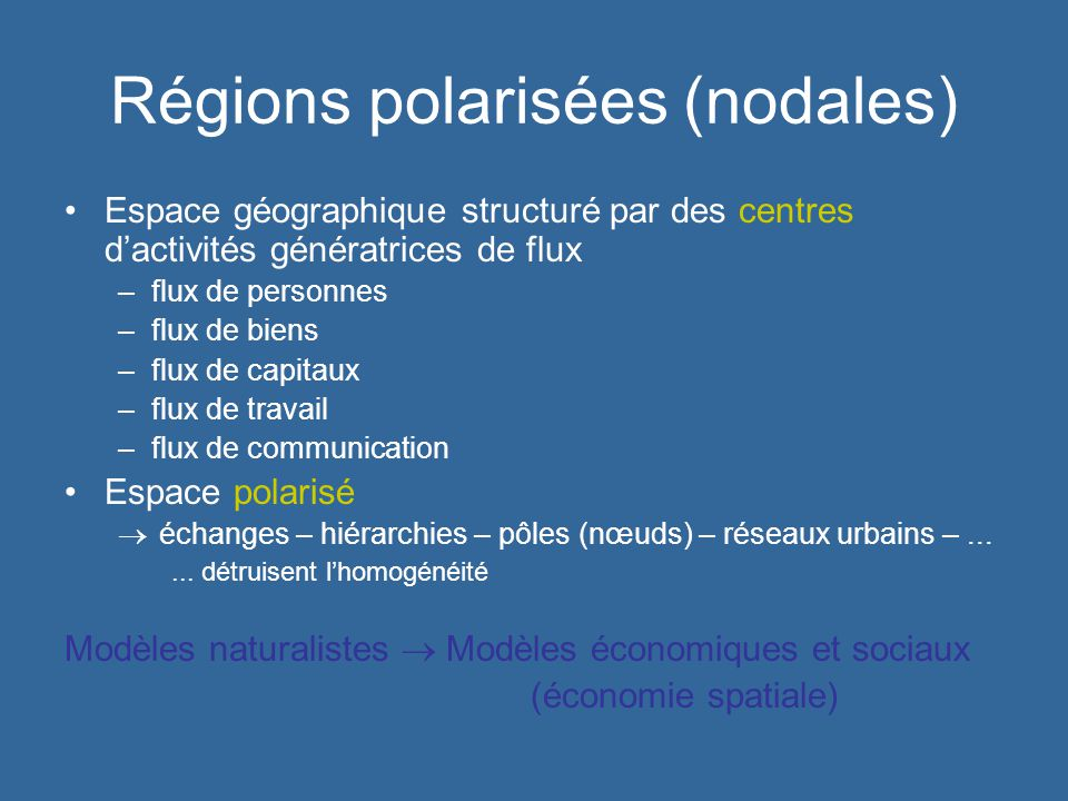Régions polarisées (nodales)