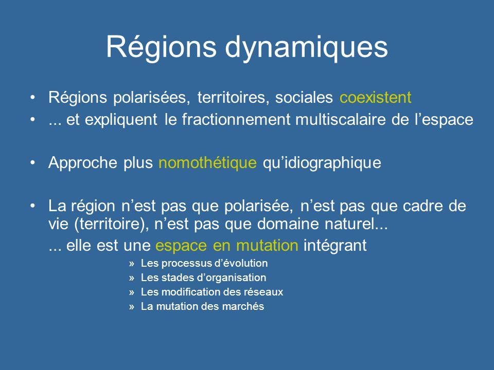 Régions dynamiques Régions polarisées, territoires, sociales coexistent. ... et expliquent le fractionnement multiscalaire de l'espace.