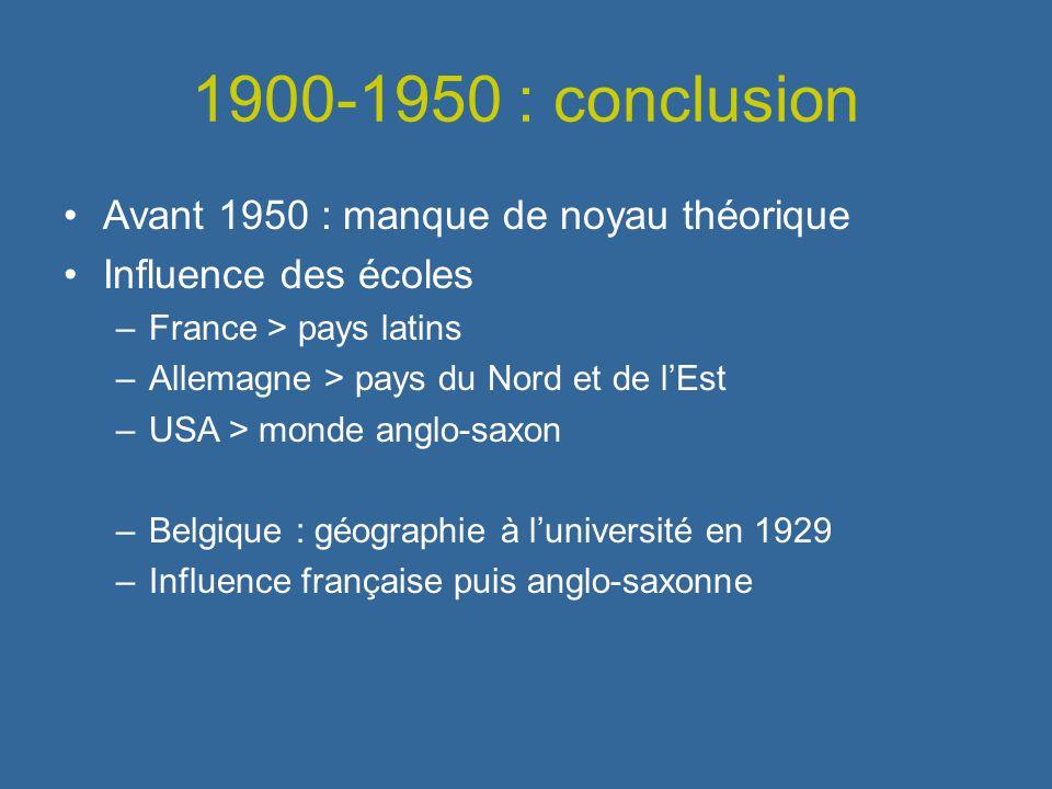 1900-1950 : conclusion Avant 1950 : manque de noyau théorique