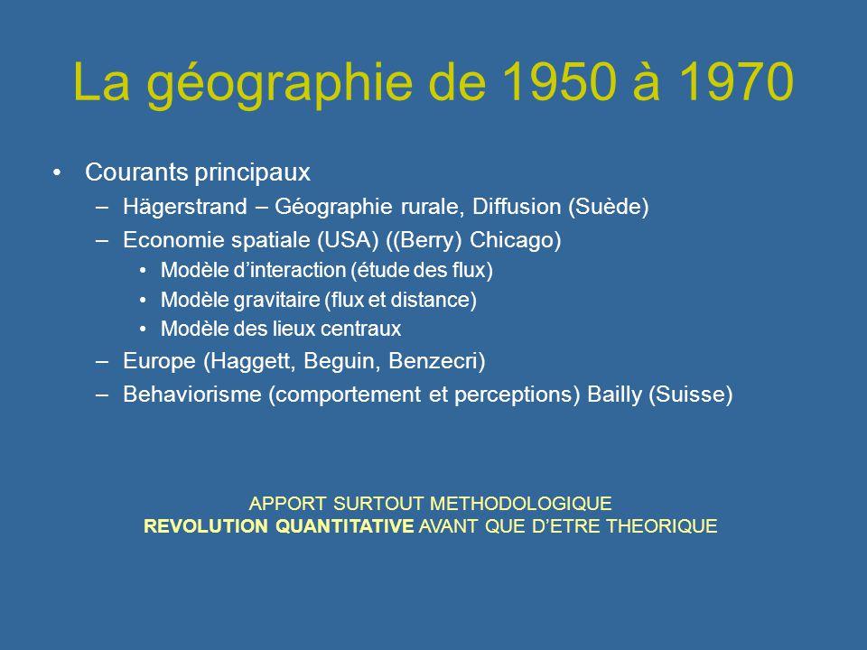 La géographie de 1950 à 1970 Courants principaux