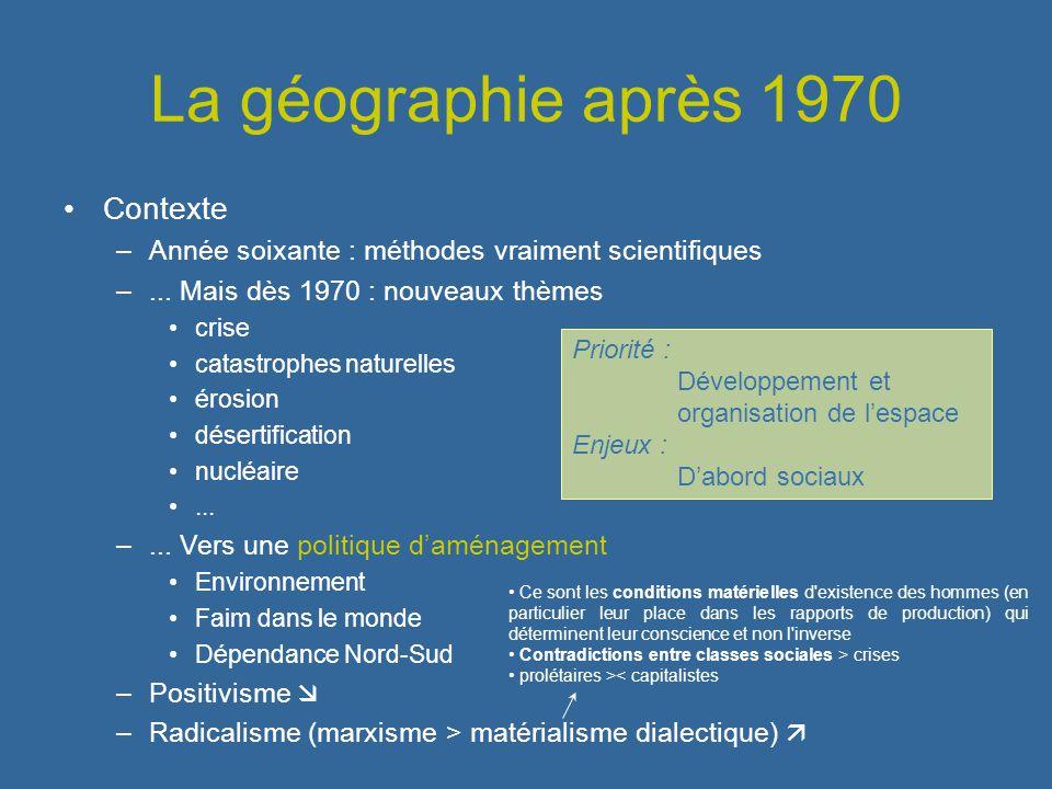 La géographie après 1970 Contexte