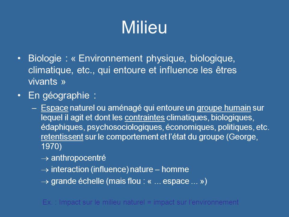 Milieu Biologie : « Environnement physique, biologique, climatique, etc., qui entoure et influence les êtres vivants »