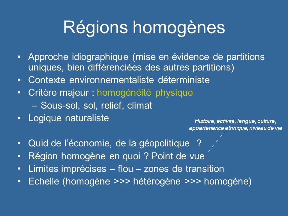 Régions homogènes Approche idiographique (mise en évidence de partitions uniques, bien différenciées des autres partitions)