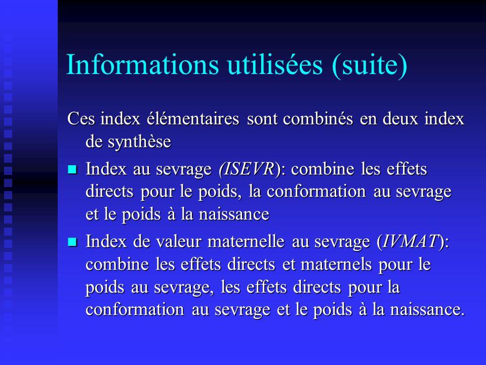Informations utilisées (suite)