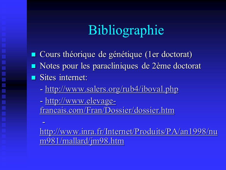 Bibliographie Cours théorique de génétique (1er doctorat)