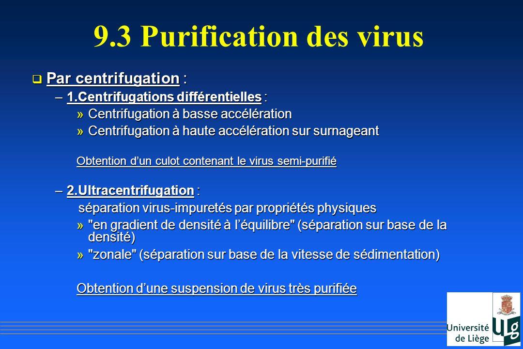 9.3 Purification des virus