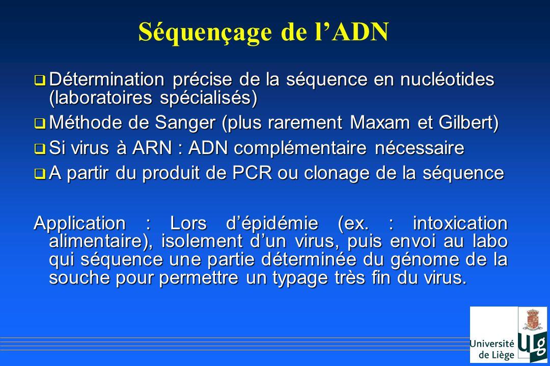 Séquençage de l'ADN Détermination précise de la séquence en nucléotides (laboratoires spécialisés)