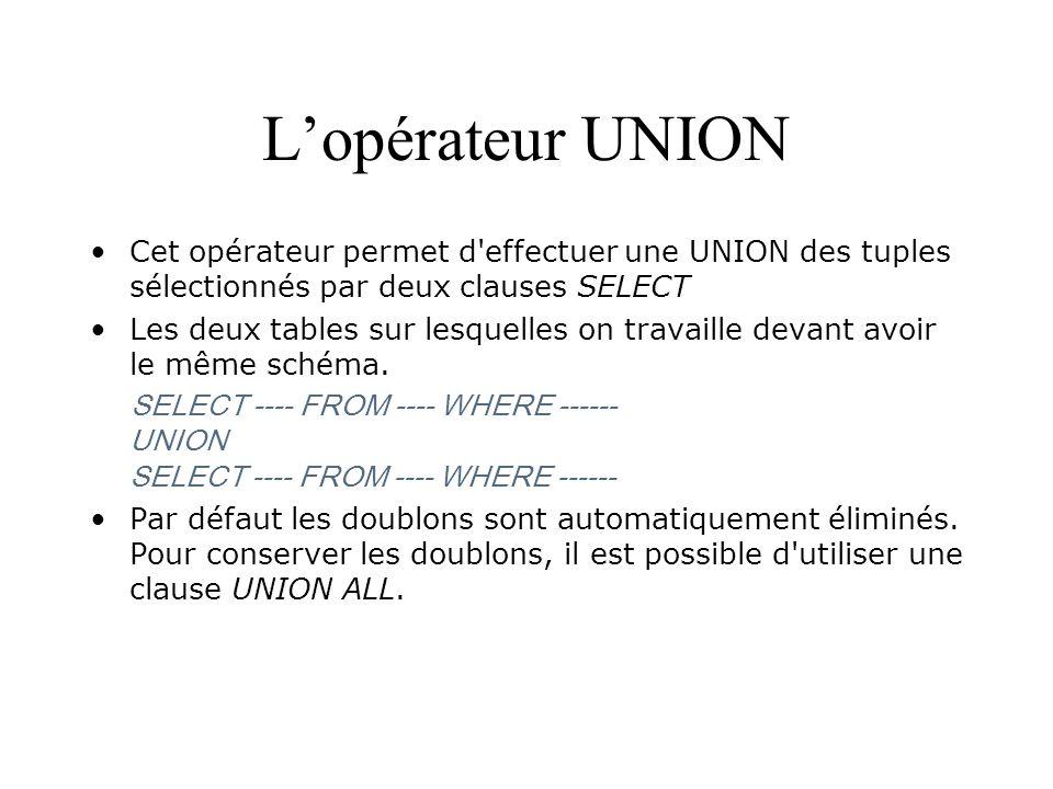 L'opérateur UNION Cet opérateur permet d effectuer une UNION des tuples sélectionnés par deux clauses SELECT.