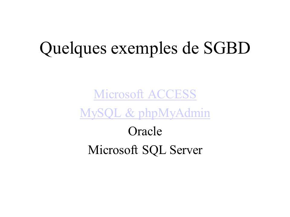 Quelques exemples de SGBD