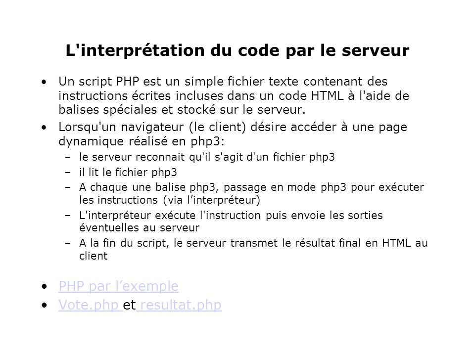 L interprétation du code par le serveur