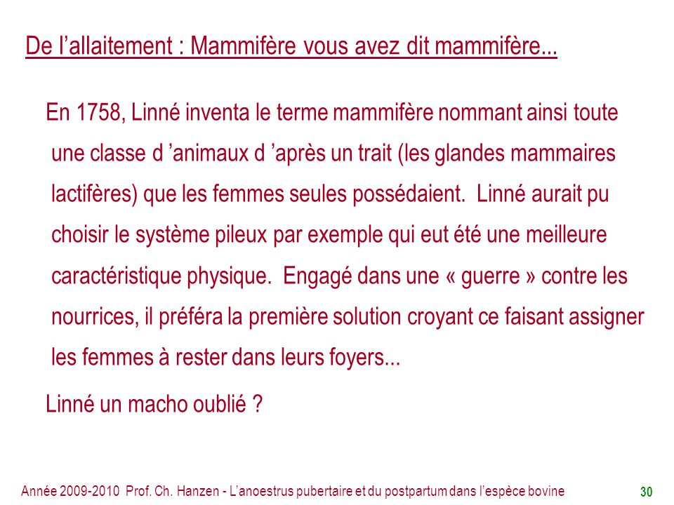 De l'allaitement : Mammifère vous avez dit mammifère...