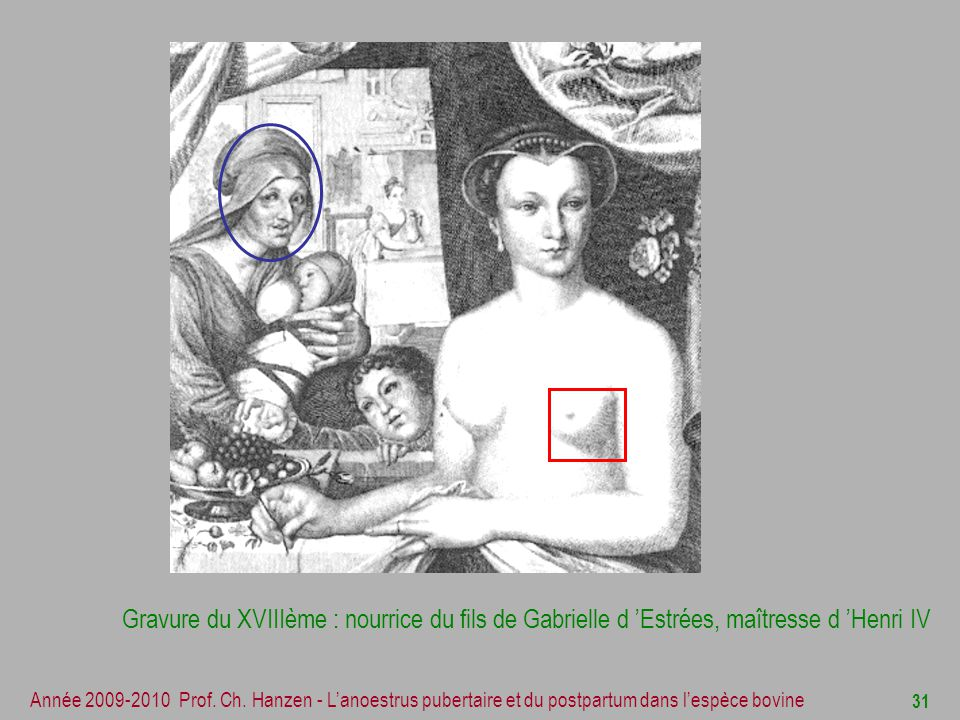 Gravure du XVIIIème : nourrice du fils de Gabrielle d 'Estrées, maîtresse d 'Henri IV