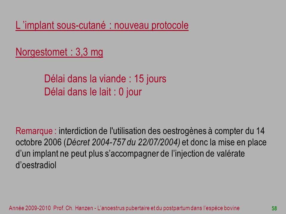 L 'implant sous-cutané : nouveau protocole Norgestomet : 3,3 mg