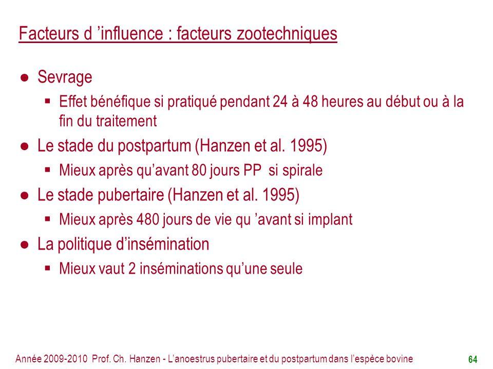 Facteurs d 'influence : facteurs zootechniques