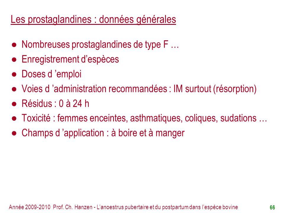 Les prostaglandines : données générales