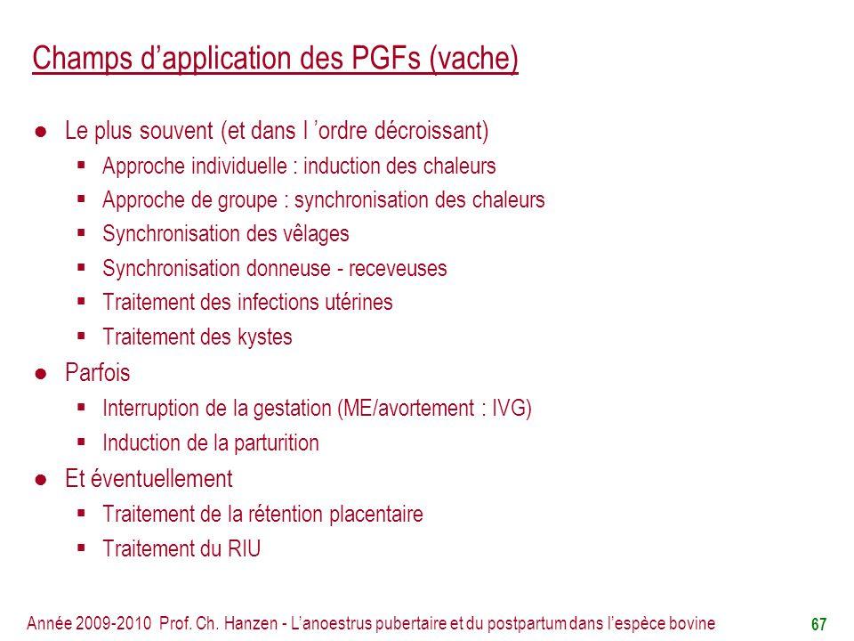 Champs d'application des PGFs (vache)