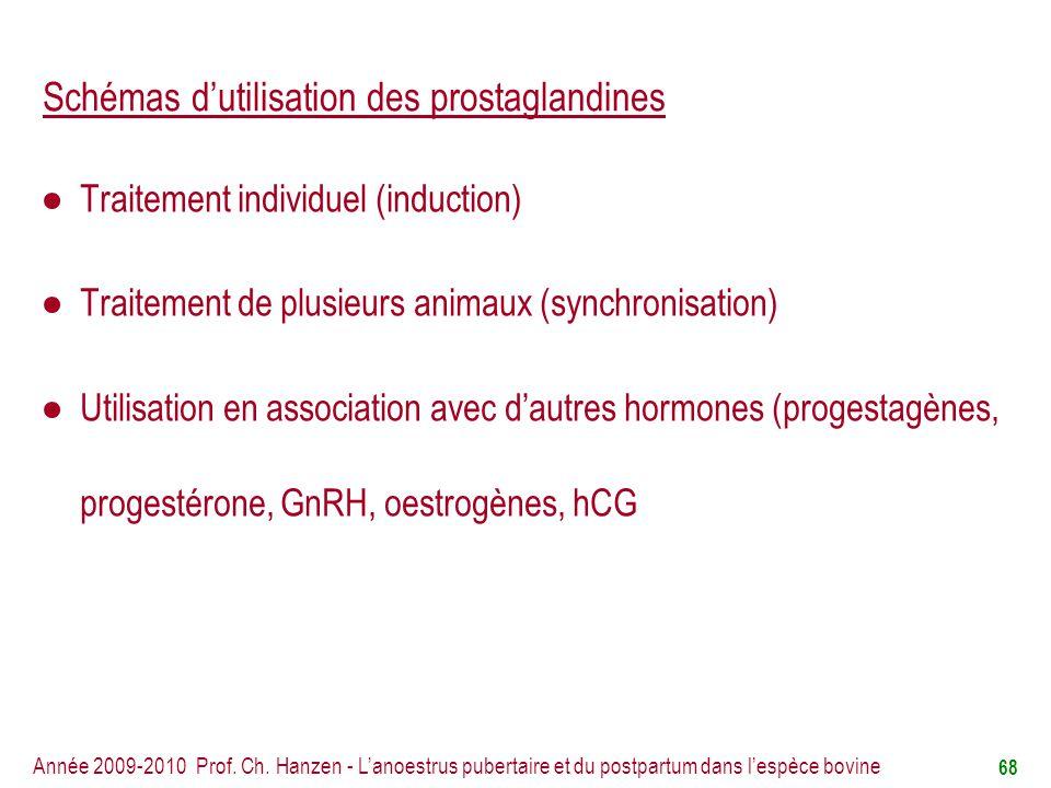 Schémas d'utilisation des prostaglandines