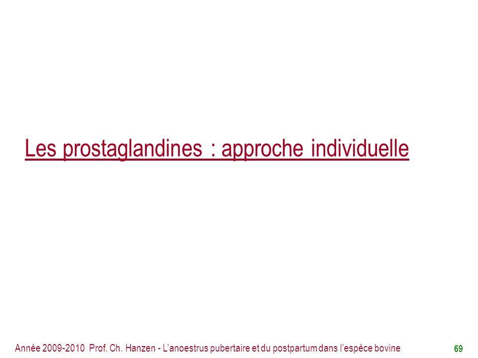 Les prostaglandines : approche individuelle