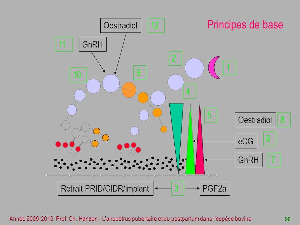 Principes de base Oestradiol 12 GnRH 11 2 1 9 10 4 3 5 Oestradiol 8 6