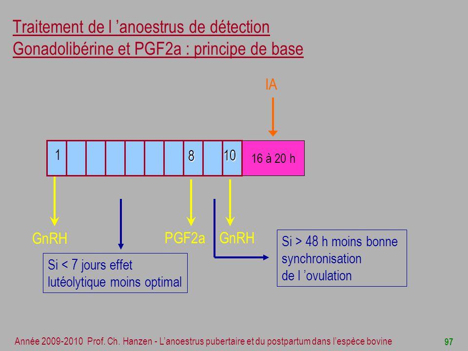 Traitement de l 'anoestrus de détection Gonadolibérine et PGF2a : principe de base
