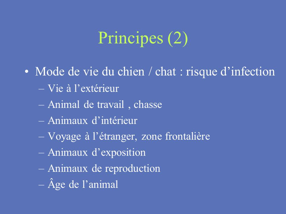 Principes (2) Mode de vie du chien / chat : risque d'infection