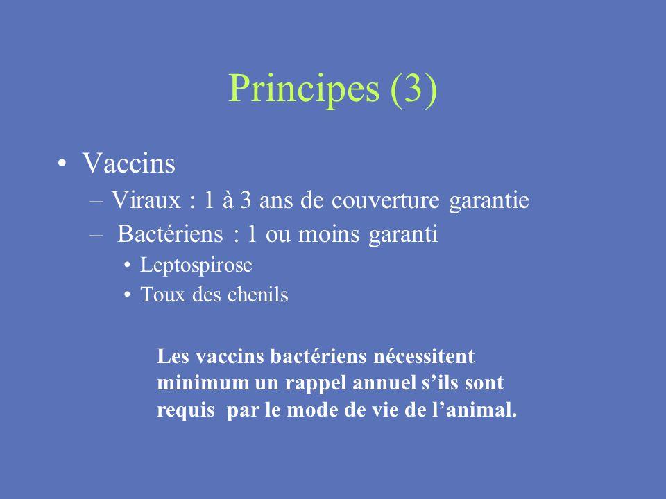 Principes (3) Vaccins Viraux : 1 à 3 ans de couverture garantie