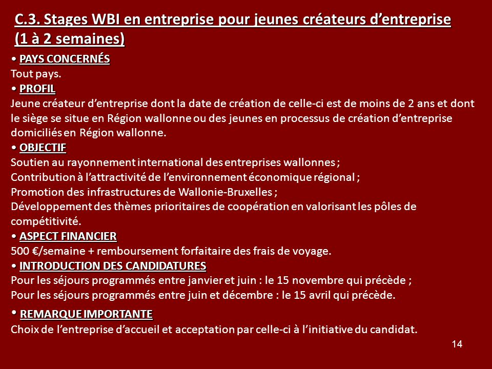 C.3. Stages WBI en entreprise pour jeunes créateurs d'entreprise