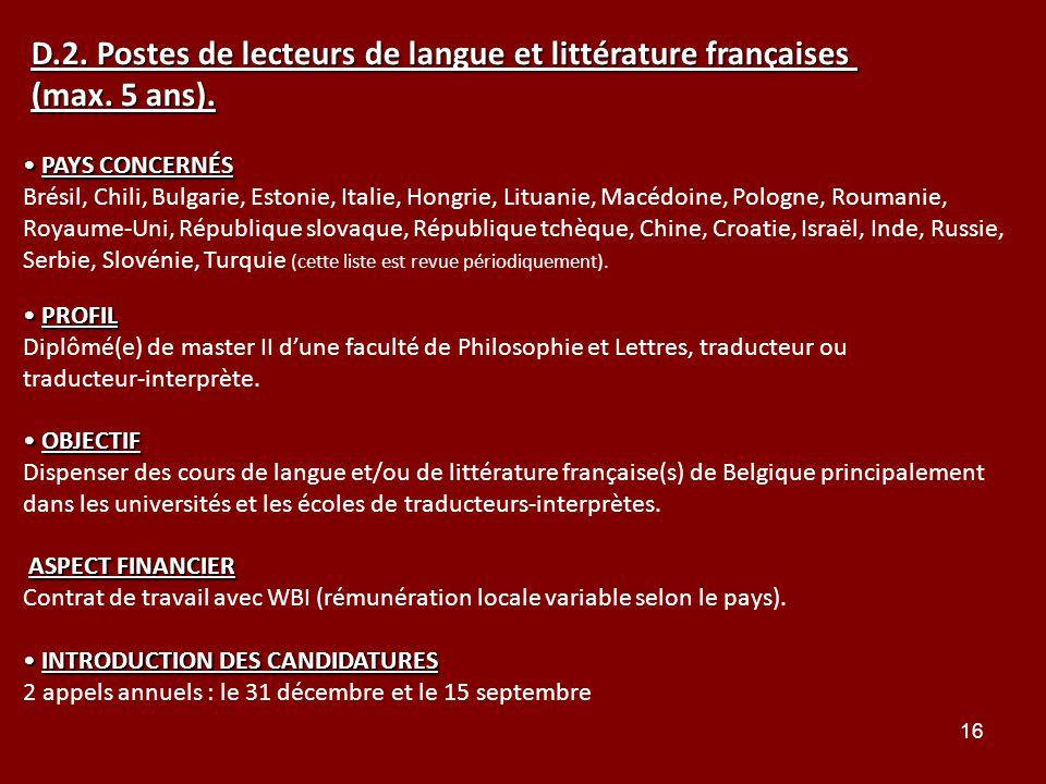 D.2. Postes de lecteurs de langue et littérature françaises