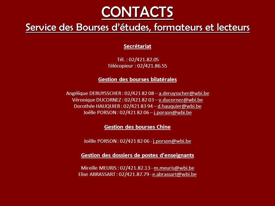 CONTACTS Service des Bourses d'études, formateurs et lecteurs