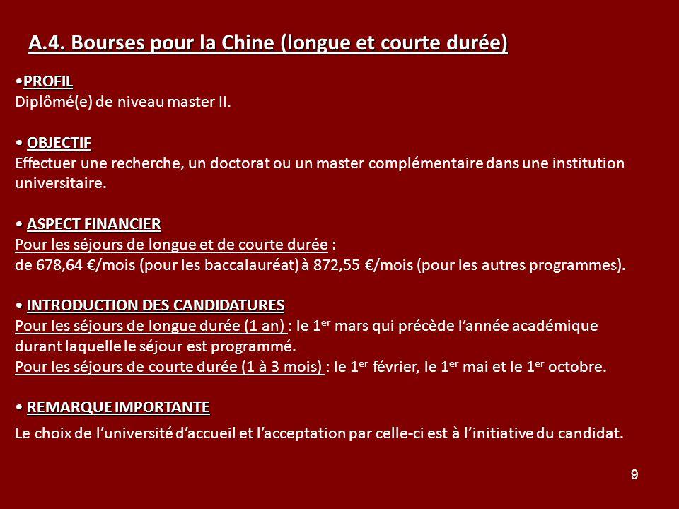 A.4. Bourses pour la Chine (longue et courte durée)