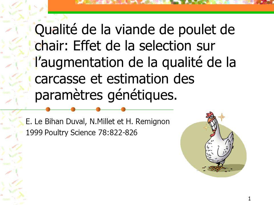 Qualité de la viande de poulet de chair: Effet de la selection sur l'augmentation de la qualité de la carcasse et estimation des paramètres génétiques.